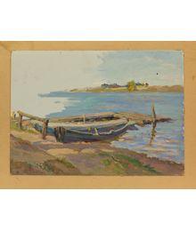Boat at the dock. Evsey Reshin