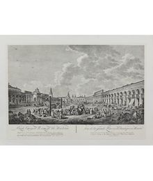 The View of Old Square in Moscow. From engraving of 1795. Unknown Author