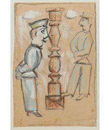 Talking near a Column. Evgeny Rastorguev