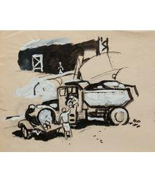 On the Construction Site. Sketch. Evgeny Rastorguev