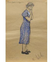 """Friend Klava. Costume Design for the Play """"When the Sun doesn't go down"""". Tamara Guseva"""