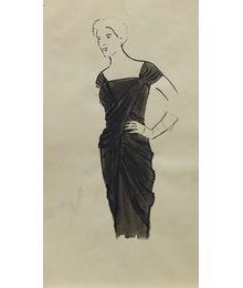 Женщина в черном платье. Эскиз театрального костюма. Тамара Гусева