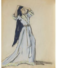 A Woman in Blue Dress. Costume Design