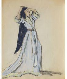 Женщина в голубом платье.  Эскиз театрального костюма. Тамара Гусева