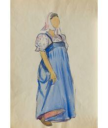 Девушка в голубом сарафане. Эскиз театрального костюма. Тамара Гусева
