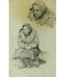 Old Woman. Sketches. Viktor Konovalov
