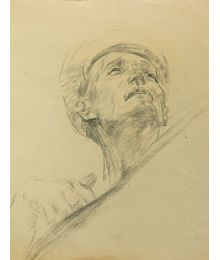 Man's Head. Sketch for the Painting. Viktor Konovalov