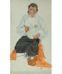 "Woman with a Jug. Sketch for the Painting of the Metro Station Kievskaya ""Narodnye Promysly"". Viktor Konovalov"