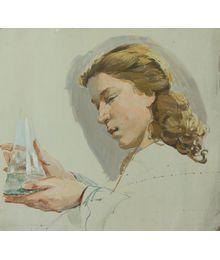 "Woman with a Test Tube. Sketch for the Painting of the Kievskaya Metro Station ""Uchenye (scientists)"". Viktor Konovalov"
