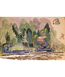 Leonid Usaitis. Works on the Railway