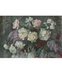 Peonies on a Grey Background. Tatiana Konovalova-Kovrigina