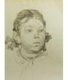 A Girl. Scketch to the Painting. Viktor Konovalov