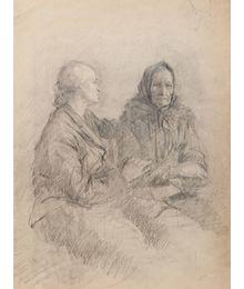 Two women. Sketch for the Painting. Viktor Konovalov
