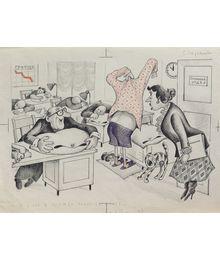 Г. и В. Караваевы. «Он у нас в одежде плохо засыпает». Карикатура для журнала «Крокодил»
