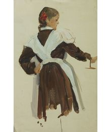 Schoolgirl. Sketch for painting. Viktor Konovalov