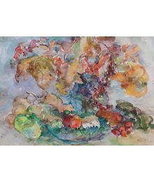 Натюрморт с цветами и яблоками. Инна Медникова