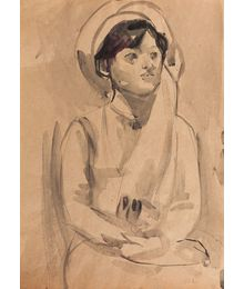 Woman in a headdress. Inna Mednikova