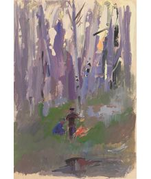 Bonfire in the forest. Evsey Reshin