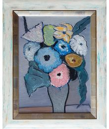 Still life with flowers on a gray background. Ruben Apresyan