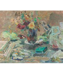 Still life with flowers and books. Inna Mednikova