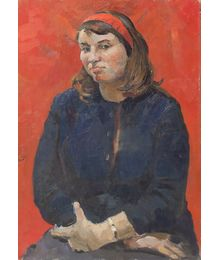 Portrait of a woman on a red background. Evsey Reshin