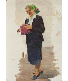 A woman in a green headscarf and a pink bag. Etude. Larisa Chorbadze