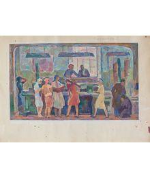 At a textile mill. Sketch. Oleg Filippov