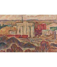 """Panorama of the plant of non-ore materials (Rzhev)"". Oleg Filippov"
