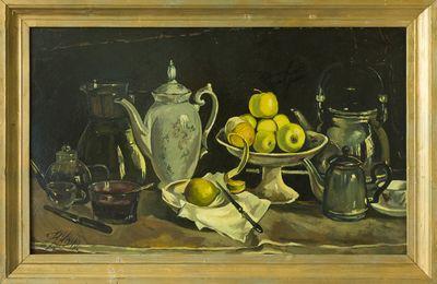 Натюрморт с посудой и яблоками. Наталия Коновалова