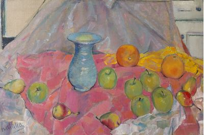 Blue Vase and Fruits on Pink Rag. Natalia Konovalova