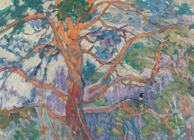Orange tree with magpie. Inna Mednikova