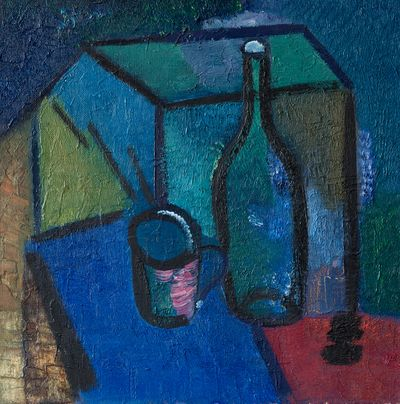 Still life with a bottle and a mug. Ruben Apresyan
