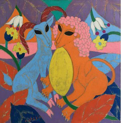 Звери. Из серии «Они вместе». Лев и коза с дыней. Наталья Коновалова