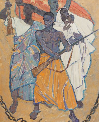 Liberation of Africa. Sketch of mosaic for the Institute of Asian and African countries in Moscow. Viktor Konovalov
