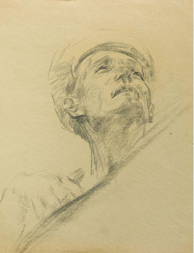 Man's Head. Sketch for the Painting. Viktor Konovalov