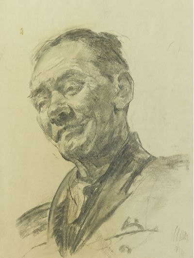 Man's Head. Sketch to the Painting. Viktor Konovalov