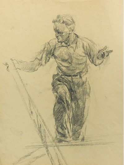The Male Figure. Sketch for Ceiling Painting. Viktor Konovalov