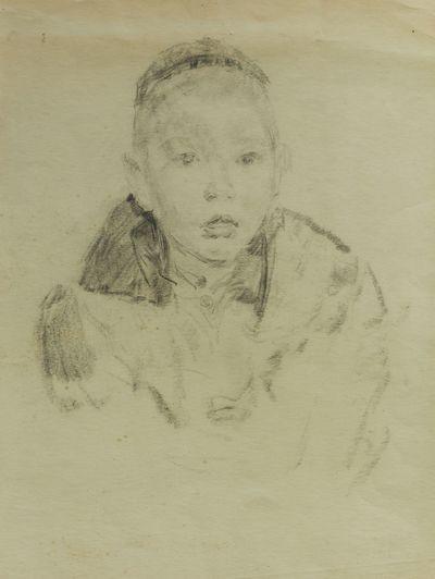 A boy in a skull-cap. Sketch to the painting. Viktor Konovalov