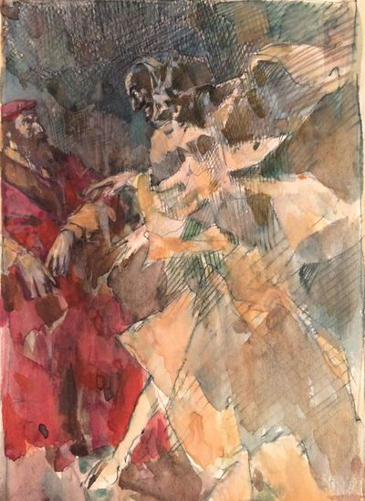 The meeting of Faust and Mephistopheles. Sketch illustration. Vassily Minyaev