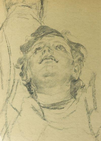 Woman's Head.  Sketch for Ceiling Painting. Viktor Konovalov
