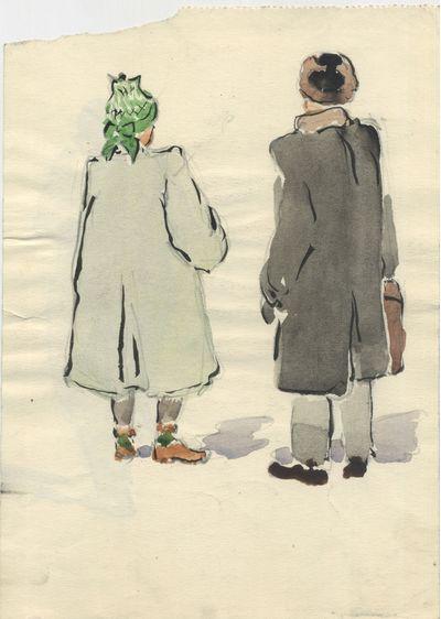 Москвичи. Наброски на блокнотном листе. Двусторонние. 1952