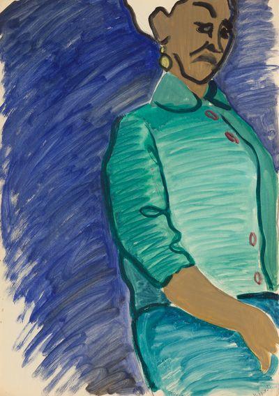 Portrait of a woman in a green suit. Natalia Orlova