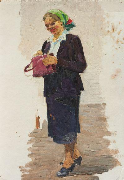 Женщина в зеленом платке и с розовой сумкой. Этюд.