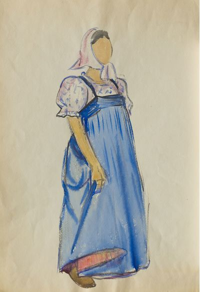 Girl in Blue Dress. Costume Design. Tamara Guseva