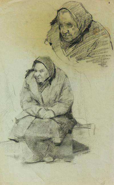 Old Woman. Sketches. Viktor Konovalov