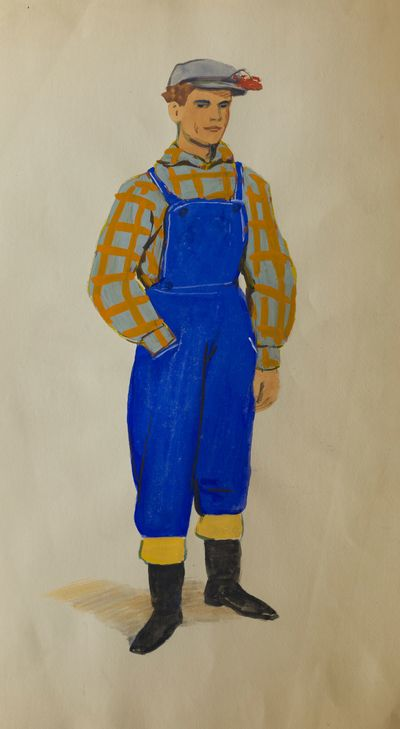 A Man in coveralls. Costume Design. Tamara Guseva